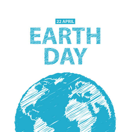 Earth Day in blue colors.  Illustration