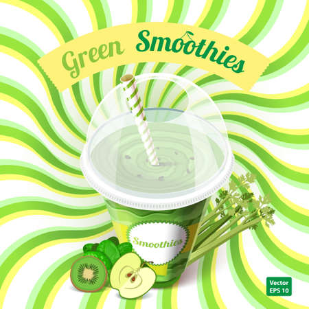 green glasses: The concept of green smoothie with apple, kiwi, spinach and celery. Vector illustration.