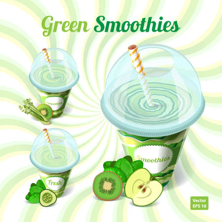 plastic straw: A set of three green smoothies in plastic cup with drinking straw with apple, kiwi, spinach, celery, kiwi, cucumber on isolated background. Vector illustration.