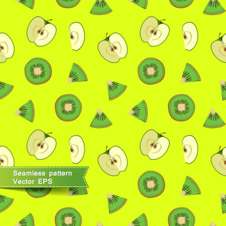 light green background: Seamless pattern with slices of fruit and vegetables. Cut apple and kiwi on a light green background. Vector illustration. Illustration