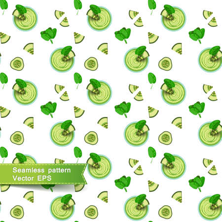 cucumber slice: Seamless pattern with green smoothies and vegetable pieces. Slices of cucumber and spinach on a white background. Vector illustration.
