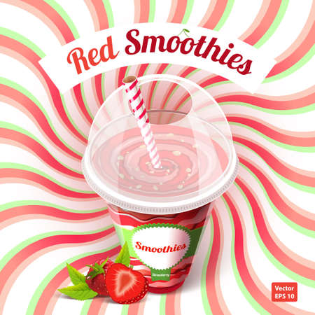 Conceptual poster red smoothies in plastic cup with drinking straw with raspberries and strawberries on an abstract background. Vector illustration. Illustration