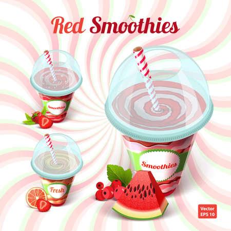pomelo: Conjunto de tres batido rojo en un vaso de plástico con pajita con sandía, pomelo, frambuesas, grosellas y fresas en el fondo aislado. Ilustración del vector.