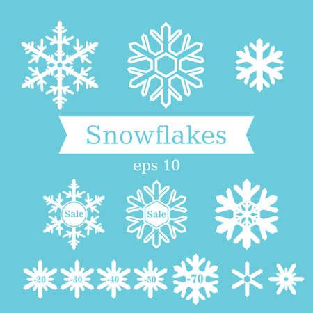 平らな白い雪片青い背景のベクトルを設定します。