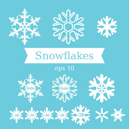 snow  ice: Vector set of flat white snowflakes on a blue background. Illustration