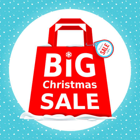 holiday shopping: Vector illustration. Great Christmas sale. Holiday Sale with big red shopping bag on a white background.