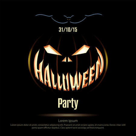 black jack: Vector illustration. Halloween poster on a black background. Jack Lantern on black dark background. Halloween party. Silhouette bat.