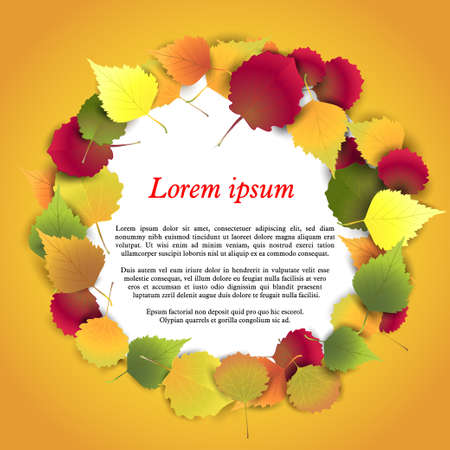background herfst: Vector illustration. Autumn background with colorful leaves in a circle. Round frame of autumn leaves.