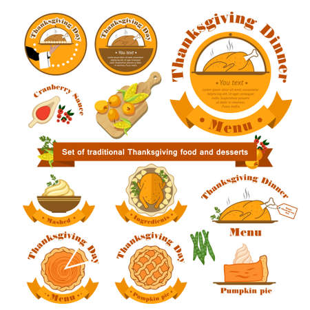 profusion: Vector illustration. Set with a traditional food on Thanksgiving Day on isolated background.