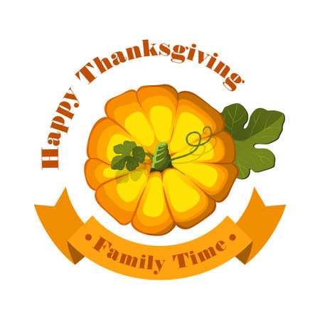 family isolated: Vector. Thanksgiving Pumpkin isolated on white background. Family time. Illustration