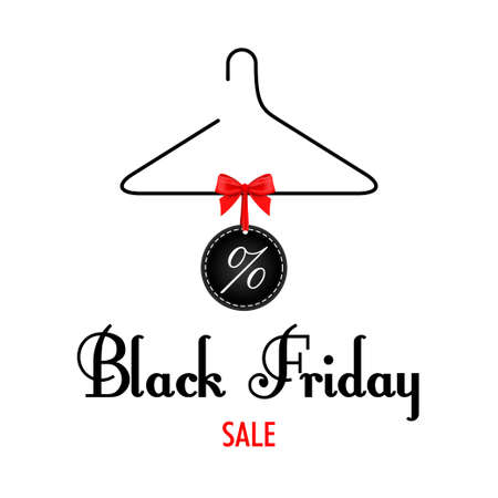 clothes rack: Vector. Black Friday sales. Black clothes rack with price tags red bow.