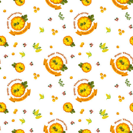 garden frame: Vector. Thanksgiving seamless pattern with pumpkin on a white background. Autumn harvest. Illustration