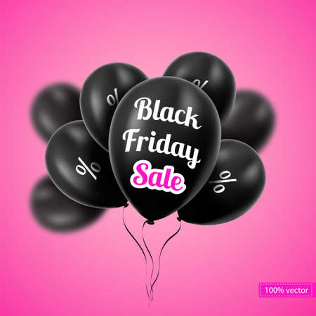 balloons: Vector. Black Friday. Black balloons on a pink background. Black balloons with discounts. Sales. Illustration