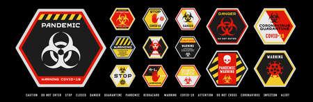 Set of coronavirus covid-19 quarantine biohazard warning and prohibition signs. Black, red and yellow high detailed design. Epidemic and Pandemic Warning. Hexagonal layout.