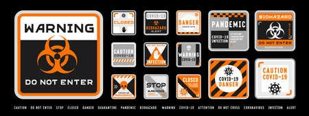 Set of coronavirus covid-19 quarantine biohazard warning and prohibition signs. Black and orange high detailed design. Epidemic and Pandemic Warning. Square layout.