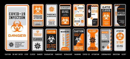 Set of coronavirus covid-19 quarantine biohazard warning and prohibition signs. Black and orange high detailed design. Epidemic and Pandemic Warning. Vertical layout.