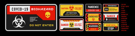 Set of coronavirus covid-19 quarantine biohazard warning and prohibition signs. Black, red and yellow high detailed design. Epidemic and Pandemic Warning. Horizontal layout. Иллюстрация