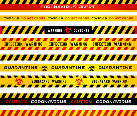 Coronavirus quarantine warning stripes tape isolated on white background. Black and yellow signs warn of biohazard and and the pandemic of the covid-19 virus.