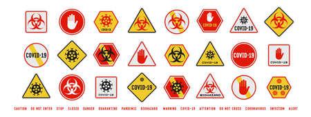 Set of coronavirus covid-19 quarantine biohazard warning and prohibition signs. Black, red and yellow design. Epidemic and Pandemic Warning. Various shapes. Иллюстрация
