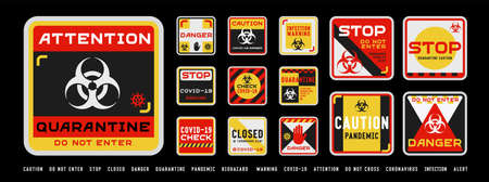 Set of coronavirus covid-19 quarantine biohazard warning and prohibition signs. Black, red and yellow high detailed design. Epidemic and Pandemic warning. Square layout. Иллюстрация