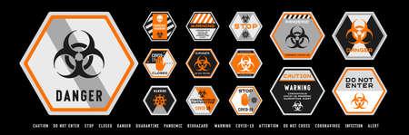 Set of coronavirus covid-19 quarantine biohazard warning and prohibition signs. Black and orange high detailed design. Epidemic and Pandemic warning. Hexagonal layout.