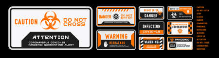 Set of coronavirus covid-19 quarantine biohazard warning and prohibition signs. Black and orange high detailed design. Epidemic and Pandemic warning. Horizontal layout.