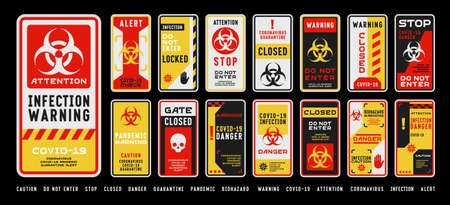 Set of coronavirus covid-19 quarantine biohazard warning and prohibition signs. Black, red and yellow high detailed design. Epidemic and Pandemic warning. Vertical layout. Иллюстрация