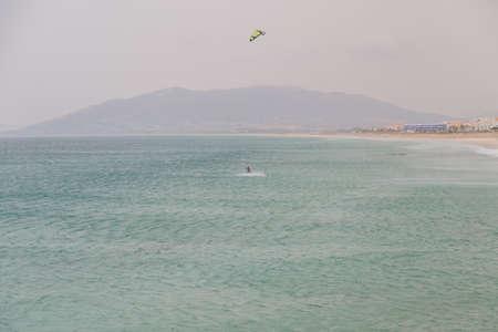 kiteboarding: Kiteboarding on the Atlantic Ocean, Tarifa, Spain Stock Photo