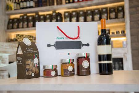 alcoholic beverages: Good Italian snack bar with alcoholic beverages, wine, jam, baking Stock Photo
