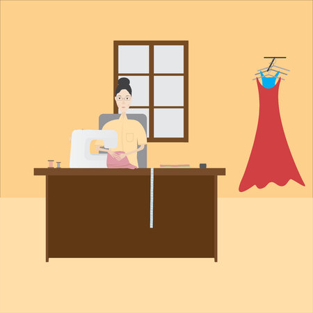 seamstress: seamstress sews clothes on a light background