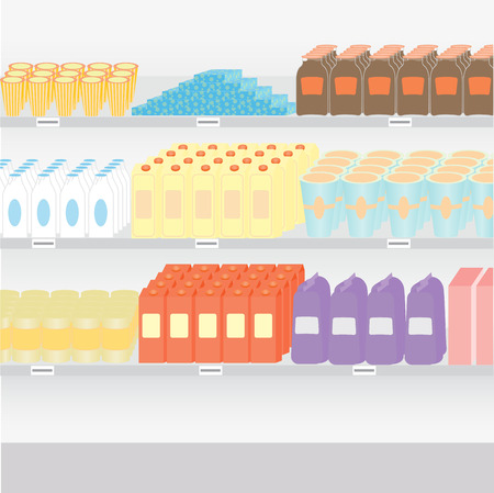 aisle: supermarket shelves with a variety of products on a white background Illustration