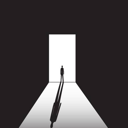 shadow man: man standing on the bright and the dark background in the doorway with shadow Illustration
