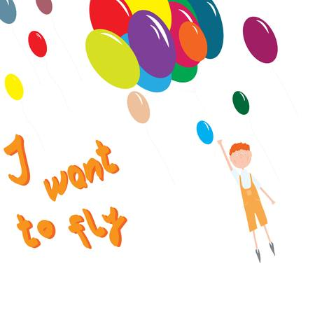 boy flying with colorful balloons in the sky