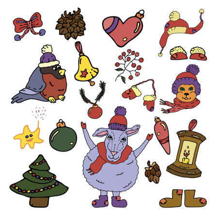 Winter season doodle big set elements. Xmas Vector hand drawn illustration. New Year collection with Christmas decorations. Bright and funny dressed animals and bullfinch.
