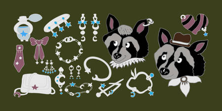 Hand drawn Jewelry Collection. Mr and Mrs Raccoons. Fashion, sapphires, white gold, silver, bracelets, earrings, pendants, pins. Vector set isolated on white background. Cute illustrations for jewelry design. Vettoriali