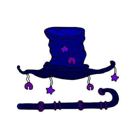 Hand drawn wizard hat with stars and bells and magical cane, illustration isolated on white background. Vector art. Halloween decor.