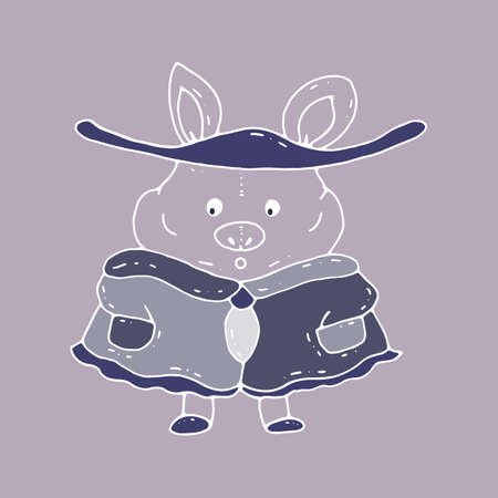 Vector cartoon character illustration hand drawn. A pig stands dressed in a cap and coat and a wide-brimmed hat.