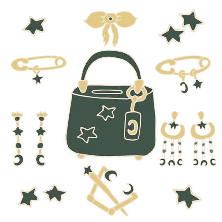 Hand drawing big collection. Vector illustration. Precious jewelry made of gold and stone jade. Beautiful fashionable bag in green. Earrings, pins, pendant. Stars and moons crescents. Beautiful gifts. Jewelry design.