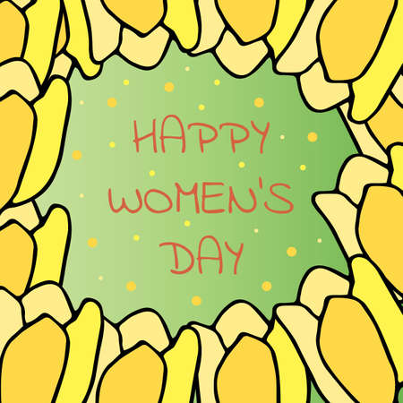 Happy congratulatory card. International Womens Day. Bright yellow spring tulips on a green background. Hand drawn vector.