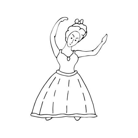 Ballerina black line sketch on white background. Vector doodle illustration. Hand drawn element for greeting cards, posters, stickers.