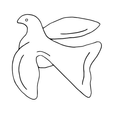 Fliegende Vogeltaube der schwarzen Linienskizze des Friedens auf weißem Hintergrund. Vektor-Doodle-Illustration. Handgezeichnetes Element für Grußkarten, Poster, Aufkleber.