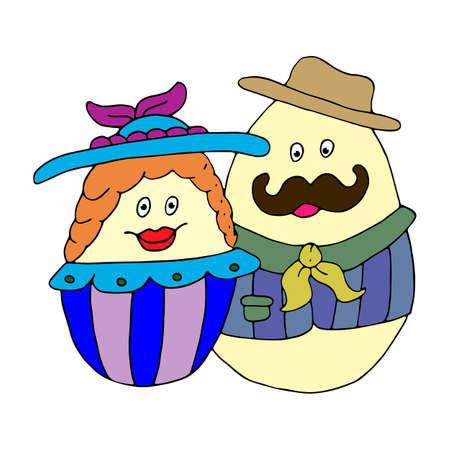 Easter eggs. Mr. and Mrs. Easter. Hand drawn illustration vector. Dressed up cartoon characters in hats and clothes isolated on white background.