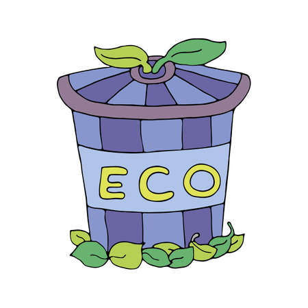 Natural colorful striped friendly eco trash can with green leaves. Waste container. ECO concept. Hand drawn vector. Cartoon Illustration isolated on white background.
