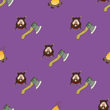 Vector seamless pattern of medieval executioner, ax and bonfire. Historical costume and character. Great design for background, wrapping paper, wallpaper, background and greeting card.