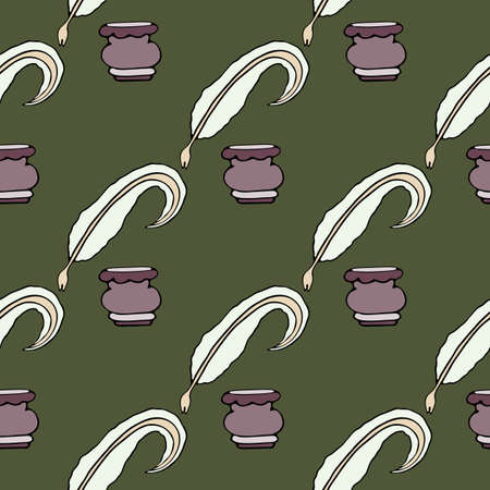 Literary seamless pattern. Quill pen and vintage inkwell. Vector hand drawn writer stuff background. Great design for wrapping paper, invitation, wallpaper, cards, packages. World writers day art.