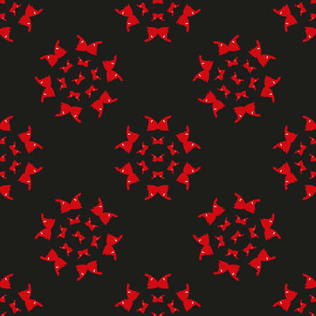 Beautiful red bright butterflies on a black background seamless pattern. Eye-catching design for wrapping paper, packaging, invitations and flyers.