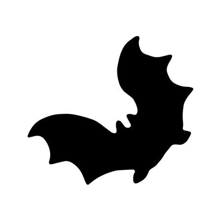 Black silhouette of bat. Vector illustration isolated on white background. Night vampire. Halloween decorative element. Spread wings.  Hand drawn black vector.