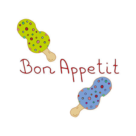 Bon Appetit hand lettering vector illustration logo for restaurant or сafe. Beautiful tasty multi-colored ice cream with lollipops. Great design for cafe menu, cards, invitations.  イラスト・ベクター素材