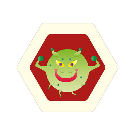 Stop COVID-19. The fight against coronavirus. Dangerous Coronavirus Cell. Green cartoon character angry virus and red stop warning sign. Illustration vector sticker icon isolated on white background. 向量圖像