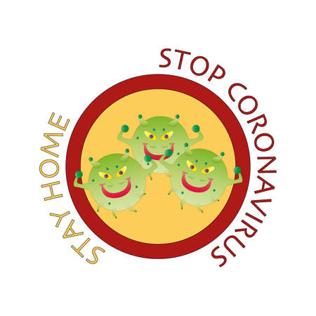 Stay Home and Stop Coronavirus Concepts. Virus model COVID-19. Virus model coronavirus 2019-nCoV. Yellow warning sign of danger. Illustration vector sticker icon isolated on white background.